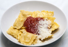 Italian pasta with napolitan sauce and parmesan cheese. Image of Italian pasta with napolitan sauce and parmesan cheese Royalty Free Stock Photos