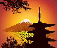 Image of Japanese landmarks with mountain Royalty Free Stock Image