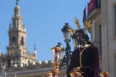 Jesus captive in the procession of the Holy Week in Seville. Image of Jesus captive in the procession through the streets of Seville in its holy week Stock Photo