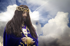Image of Jesus Christ on bottom of clouds Royalty Free Stock Image