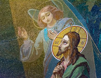The image of Jesus Christ on the fresco Church of the Savior on Royalty Free Stock Images