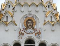 Minsk Cathedral of All Saints. The image of Jesus Christ on the wall of the Orthodox Church. Orthodox Cathedral of All saints in the city of Minsk in Belarus Royalty Free Stock Photo