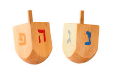 wooden colorful dreidels (spinning top) for hanukkah jewish holiday isolated on white   Royalty Free Stock Image