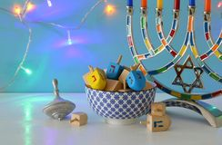 Image of jewish holiday Hanukkah background with menorah & x28;traditional candelabra& x29;. Image of jewish holiday Hanukkah background with menorah & Royalty Free Stock Image