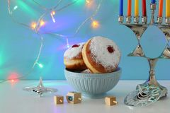 Image of jewish holiday Hanukkah background with menorah & x28;traditional candelabra& x29;. Image of jewish holiday Hanukkah background with menorah & Stock Photography