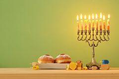 Image of jewish holiday Hanukkah background with menorah & x28;traditional candelabra. Image of jewish holiday Hanukkah background with menorah & x28 royalty free stock photos