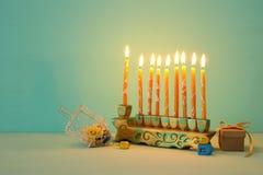 Image of jewish holiday Hanukkah background with menorah & x28;traditional candelabra. Image of jewish holiday Hanukkah background with menorah & x28 royalty free stock images