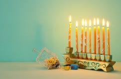 Image of jewish holiday Hanukkah background with menorah & x28;traditional candelabra. Image of jewish holiday Hanukkah background with menorah & x28 royalty free stock photography