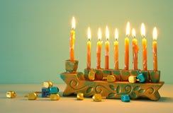 Image of jewish holiday Hanukkah background with menorah & x28;traditional candelabra. Image of jewish holiday Hanukkah background with menorah & x28 stock photography