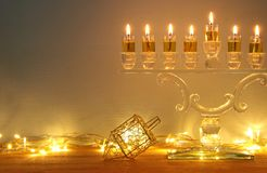 Image of jewish holiday Hanukkah background with menorah & x28;traditional candelabra& x29; and burning candles. Image of jewish holiday Hanukkah Royalty Free Stock Image
