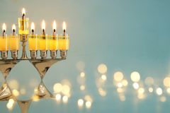 Image of jewish holiday Hanukkah background with menorah & x28;traditional candelabra& x29; and burning candles. Image of jewish holiday Hanukkah Stock Images