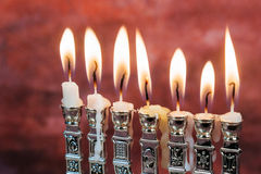Image of jewish holiday Hanukkah background with menorah traditional Stock Photography