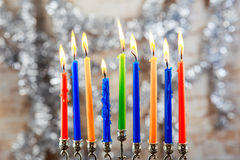 Image of jewish holiday Hanukkah background with menorah traditional Royalty Free Stock Images