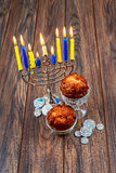 Image of jewish holiday Hanukkah background with menorah traditional Stock Photography