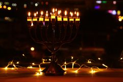 Top view image of jewish holiday Hanukkah background with traditional spinnig top, menorah & x28;traditional candelabra& x29;. Image of jewish holiday Hanukkah stock image