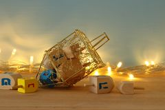 Image of jewish holiday Hanukkah background with menorah & x28;traditional candelabra& x29; and burning candles. Image of jewish holiday Hanukkah Stock Photo