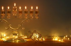 Image of jewish holiday Hanukkah background with menorah & x28;traditional candelabra& x29; and burning candles. Image of jewish holiday Hanukkah Stock Photos
