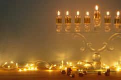 Image of jewish holiday Hanukkah background with menorah & x28;traditional candelabra& x29; and burning candles. Image of jewish holiday Hanukkah Stock Photography