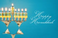 Image of jewish holiday Hanukkah background with menorah & x28;traditional candelabra& x29; and burning candles. Image of jewish holiday Hanukkah Royalty Free Stock Photos