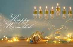 Image of jewish holiday Hanukkah background with menorah & x28;traditional candelabra& x29; and burning candles. Image of jewish holiday Hanukkah Royalty Free Stock Photo