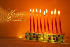 Image of jewish holiday Hanukkah background with menorah & x28;traditional candelabra& x29; and candles. Image of jewish holiday Hanukkah background Stock Image