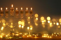 Image of jewish holiday Hanukkah background with menorah & x28;traditional candelabra& x29; and candles. Image of jewish holiday Hanukkah background with Royalty Free Stock Photos