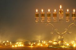 Image of jewish holiday Hanukkah background with menorah & x28;traditional candelabra& x29; and candles. Image of jewish holiday Hanukkah background Royalty Free Stock Photography