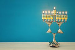 Image of jewish holiday Hanukkah background with menorah & x28;traditional candelabra& x29; and candles. Image of jewish holiday Hanukkah background Royalty Free Stock Images