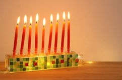 Image of jewish holiday Hanukkah background with menorah & x28;traditional candelabra& x29; and candles. Image of jewish holiday Hanukkah background Royalty Free Stock Photos