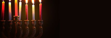 Image of jewish holiday Hanukkah background with menorah & x28;traditional candelabra& x29; and candles. Image of jewish holiday Hanukkah background with stock images