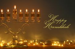 Image of jewish holiday Hanukkah background with menorah & x28;traditional candelabra& x29; and candles. Image of jewish holiday Hanukkah background Stock Photography