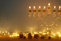 Image of jewish holiday Hanukkah background with menorah & x28;traditional candelabra& x29; and candles. Image of jewish holiday Hanukkah background Stock Photos