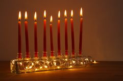 Image of jewish holiday Hanukkah background with menorah & x28;traditional candelabra& x29; and candles. Image of jewish holiday Hanukkah background Stock Images