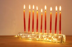 Image of jewish holiday Hanukkah background with menorah & x28;traditional candelabra& x29; and candles. Image of jewish holiday Hanukkah background Stock Photo