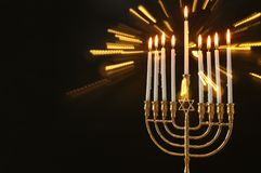 Image of jewish holiday Hanukkah background with menorah & x28;traditional candelabra& x29; and candles. Image of jewish holiday Hanukkah background with stock photos