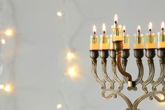 Image of jewish holiday Hanukkah background with menorah & x28;traditional candelabra& x29; Royalty Free Stock Photos
