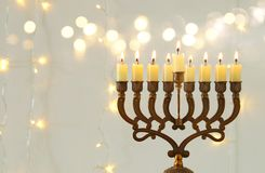 Image of jewish holiday Hanukkah background with menorah & x28;traditional candelabra& x29;. Image of jewish holiday Hanukkah background with menorah & Royalty Free Stock Photography