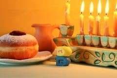 Image of jewish holiday Hanukkah background with menorah & x28;traditional candelabra. Image of jewish holiday Hanukkah background with menorah & x28 stock photos