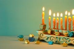 Image of jewish holiday Hanukkah background with menorah & x28;traditional candelabra. Image of jewish holiday Hanukkah background with menorah & x28 stock image
