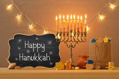 Image of jewish holiday Hanukkah with menorah (traditional candelabra) isolated on white. Image of jewish holiday Hanukkah background with menorah &# stock photography
