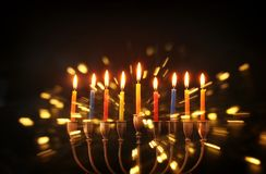 Image of jewish holiday Hanukkah background with traditional menorah & x28;traditional candelabra& x29;. Image of jewish holiday Hanukkah background with royalty free stock image