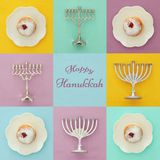 Image of jewish holiday Hanukkah background with traditional spinnig top, menorah & x28;traditional candelabra& x29;. Image of jewish holiday Hanukkah royalty free stock photos