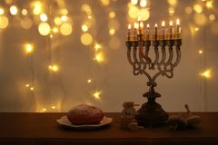 Image of jewish holiday Hanukkah background with traditional spinnig top, menorah & x28;traditional candelabra& x29;. Image of jewish holiday Hanukkah Royalty Free Stock Images
