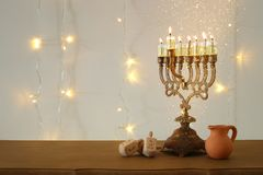 Image of jewish holiday Hanukkah background with traditional spinnig top, menorah & x28;traditional candelabra& x29;. Image of jewish holiday Hanukkah Royalty Free Stock Image