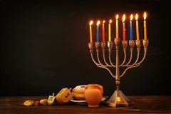 Image of jewish holiday Hanukkah background with traditional spinnig top, menorah & x28;traditional candelabra& x29;. Image of jewish holiday Hanukkah Stock Photos