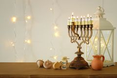 Image of jewish holiday Hanukkah background with traditional spinnig top, menorah & x28;traditional candelabra& x29;. Image of jewish holiday Hanukkah Royalty Free Stock Photo