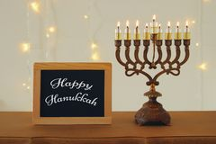 Image of jewish holiday Hanukkah background with traditional spinnig top, menorah & x28;traditional candelabra& x29;. Image of jewish holiday Hanukkah stock photography