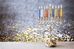Image of jewish holiday Hanukkah with menorah Stock Image