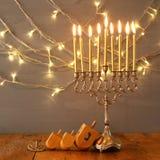 Image of jewish holiday Hanukkah with menorah Stock Images