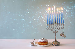 Image of jewish holiday Hanukkah with menorah royalty free stock image